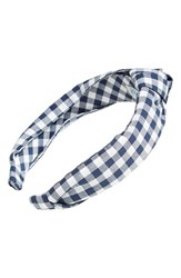 L. Erickson 'Narrow Knot' Turban Headband Blue Wide Gingham Navy
