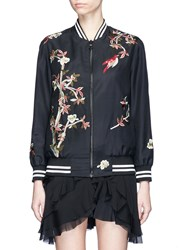 Alice Olivia 'Lila' Floral And Bird Embroidered Satin Bomber Jacket Black