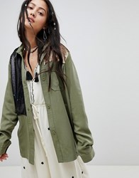 Native Rose Relaxed Military Shirt With Sequin Panels Green