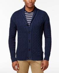 Barbour Men's Shawl Collar Cable Knit Cardigan Navy