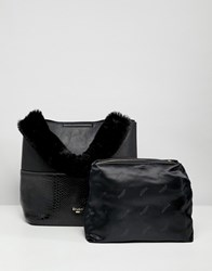 Dune Dixiee Black Faux Croc Tote Bag With Faux Fur Handle And Detachable Strap Black Synthetic