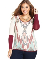 Ing Plus Size Aztec Print Sweater
