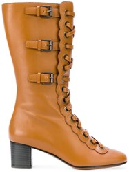Chloe Lace Up Buckle Boots Calf Leather Leather Brown