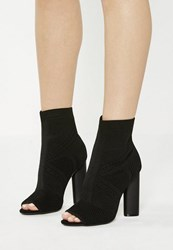 Missguided Black Knitted Peep Toe Ankle Boots