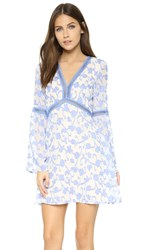 Re Named Great Vine Bell Sleeve Dress Blue