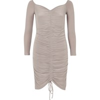 River Island Womens Grey Ruched Bodycon Dress