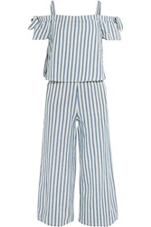 Madewell Cold Shoulder Cropped Striped Cotton And Linen Blend Jumpsuit Blue