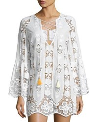 Miguelina Karla Lace Up Hibiscus Coverup Dress Pure White