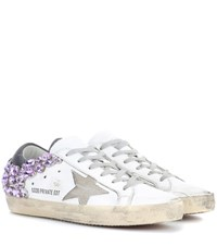 Golden Goose Exclusive To Mytheresa.Com Superstar Crystal Embellished Leather Sneakers White