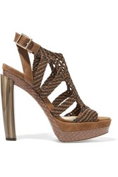 Jimmy Choo Woven Leather Suede And Elaphe Sandals Brown