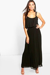 Boohoo Pleated Double Layer Strappy Maxi Dress Black