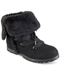 Indigo Rd. Boyston Lace Up Faux Fur Cold Weather Booties Women's Shoes Black