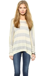 Wilt Big Drop Rugby Stripe Sweater Cloud Grey Heather
