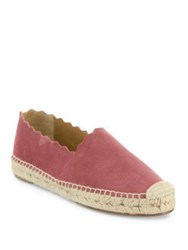 Chloe Lauren Scalloped Suede Espadrille Loafers Elephant Grey Red Tourmaline
