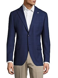 Lubiam Wool Windowpane Jacket Dark Blue