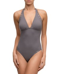 Lise Charmel Ajourage Couture Halter One Piece Swimsuit Gray
