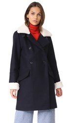 Kenzo Double Breasted Coat Navy Blue
