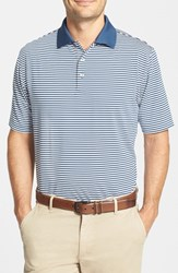 Men's Peter Millar 'Competition' Stripe Stretch Microfiber Golf Polo Midnight