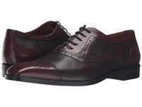 Massimo Matteo Deerskin And Leather Bal Perf Burgundy Men's Shoes