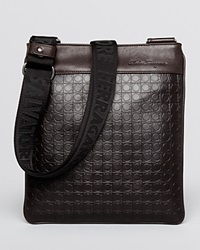 Salvatore Ferragamo Gamma Soft Embossed Small Messenger Caffe