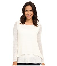 Miraclebody Jeans Casey Crop Jacquard Sweater W Body Shaping Inner Shell Ivory White Women's Sweater