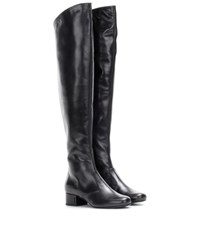 Saint Laurent Babies 40 Leather Over The Knee Boots Black