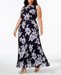 Jessica Howard Plus Size Pleated Belted Maxi Dress Navy White