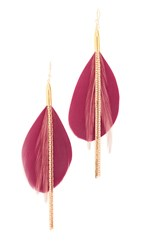 Serefina Feather Earrings Red Gold