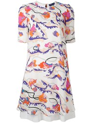 Emilio Pucci Short Sleeved Floral Print Dress White