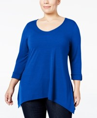 Ny Collection Plus Size Roll Tab Handkerchief Hem Top Bright Blue