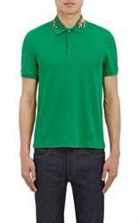 Gucci Men's Tiger Embroidered Cotton Blend Polo Shirt Green