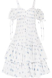 Alexander Mcqueen Cold Shoulder Tiered Floral Print Cotton Voile Maxi Dress Ivory