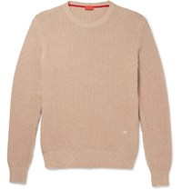Isaia Knot Stitch Cotton And Cashmere Blend Sweater Beige