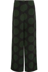 Mcq By Alexander Mcqueen Polka Dot Crepe Wide Leg Pants Forest Green