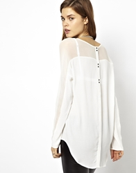2Nd Day Abra Drapey Blouse With Button Back Detail White