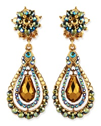 Jose And Maria Barrera Green Iridescent Crystal Clip On Earrings