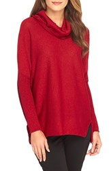 Women's Catherine Catherine Malandrino 'Maeve' Metallic Knit Cowl Neck Tunic Crimson