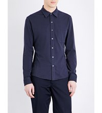 Closed Slim Fit Stretch Cotton Shirt Navy