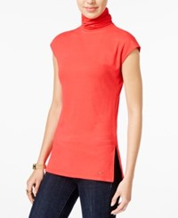 Tommy Hilfiger Gigi Cap Sleeve Turtleneck Maui Orange