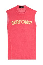 Dsquared2 Printed Cotton Tank With Linen Red