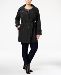 London Fog Plus Size Hooded Double Collar Trench Coat Black