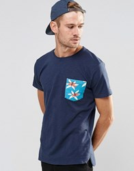 Esprit T Shirt With Contrast Printed Pocket Navy