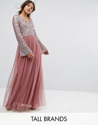 Maya Tall Sequin Top Tulle Maxi Dress With Fluted Sleeve Detail Purple