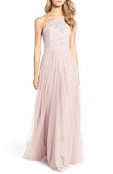 Hayley Paige Occasions Women's Metallic Embellished Gown Dusty Rose