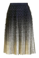 Topshop Petite Pleated Foil Lace Skirt Navy Blue
