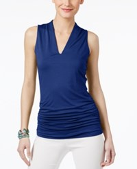 Inc International Concepts Ruched V Neck Top Only At Macy's Goddess Blue