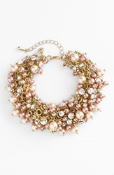Women's Nina 'Peony' Glass Pearl And Crystal Cluster Bracelet Blush Pearl Clear Crystal