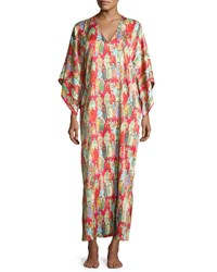 Natori Dynasty Pearl Print Long Caftan Red Multicolor