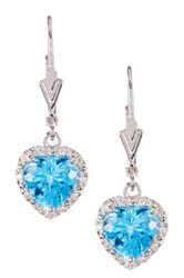 Sterling Silver Swiss Blue Topaz Heart Dangle Earrings