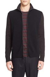 Rag And Bone Men's 'Lance' Colorblock Full Zip Cardigan Midnight
